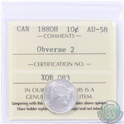 10-cent 1880H Obverse 2 ICCS Certified AU-58. A bright coin that shows like Mint State.