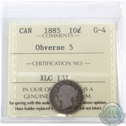 10-cent 1885 Obverse 5 ICCS Certified G-4