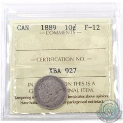 10-cent 1889 ICCS F-12 *KEY DATE* Highly sought after date, this coin features soft grey fields with