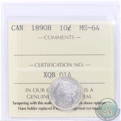 10-cent 1890H ICCS Certified MS-64! A rare coin in any Mint State Grade. This coin features exceptio