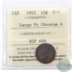 10-cent 1892 Large 9 Obverse 6 ICCS Certified G-4. Deep rich toning throughout the coin.