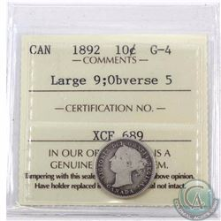 10-cent 1892 Large 9 Obverse 5 ICCS Certified G-4. A nice attractive coin for the grade point.