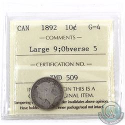 10-cent 1892 Large 9 Obverse 5 ICCS Certified G-4