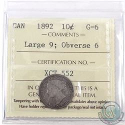 10-cent 1892 Large 9 Obverse 6 ICCS Certified G-6