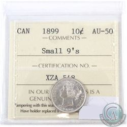 10-cent 1899 Small 9s ICCS Certified AU-50. Attractive bright coin.