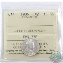 10-cent 1906 ICCS Certified AU-55