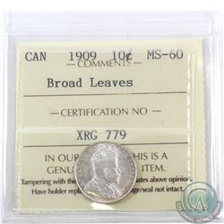 10-cent 1909 Broad Leaves ICCS Certified MS-60