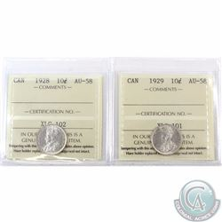 10-cent 1928 & 1929 ICCS Certified AU-58. 2pcs