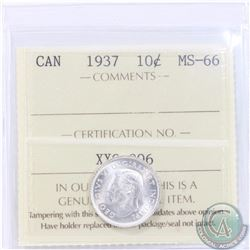 10-cent 1937 ICCS Certified MS-66! Tied for the Highest Grade by ICCS (1 of 6). A nice blast white c