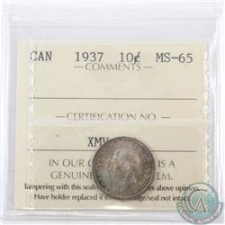 10-cent 1937 ICCS Certified MS-65. A nice original toned coin with olive green and blue toning throu