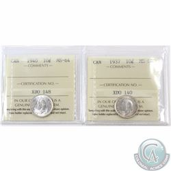 10-cent 1937 & 1940 ICCS Certified MS-64. 2pcs