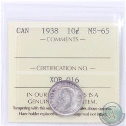 10-cent 1938 ICCS Certified MS-65. An attractive frosted coin with hints of violet toning.