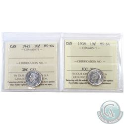 10-cent 1938 & 1945 ICCS Certified MS-64. 2pcs