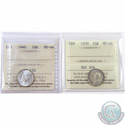 10-cent 1939 & 1940 ICCS Certified MS-64. 2pcs