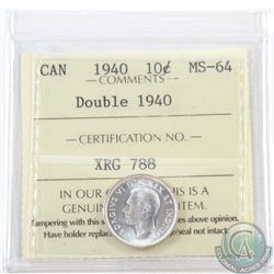 10-cent 1940 'Double 1940' ICCS Certified MS-64
