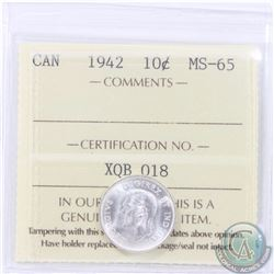 10-cent 1942 ICCS Certified MS-65. Blast White coin.