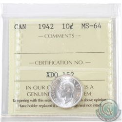10-cent 1942 ICCS Certified MS-64
