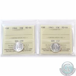 10-cent 1943 & 1944 ICCS Certified MS-64. 2pcs