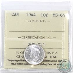 10-cent 1944 ICCS Certified MS-64