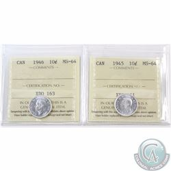 10-cent 1945 & 1946 ICCS Certified MS-64. 2pcs