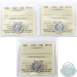 10-cent 1945, 1946 & 1947 ICCS Certified MS-62. 3pcs