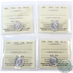 10-cent 1945, 1946, 1949 & 1952 ICCS Certified MS-63. 4pcs
