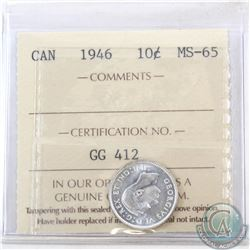 10-cent 1946 ICCS Certified MS-65. Bright coin with nice rolling luster.