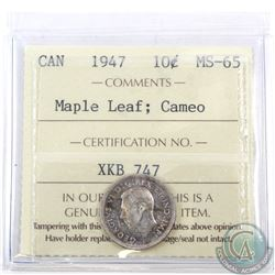 10-cent 1947 Maple Leaf ICCS Certified MS-65; Cameo