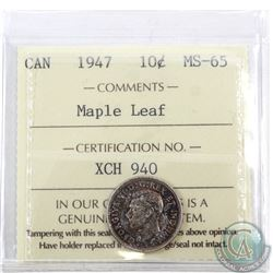 10-cent 1947 Maple Leaf ICCS Certified MS-65