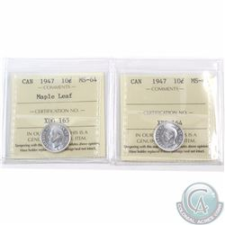 10-cent 1947 & 1947 Maple Leaf ICCS Certified MS-64. 2pcs