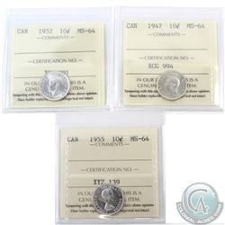 10-cent 1947, 1952 & 1955 ICCS Certified MS-64. 3pcs