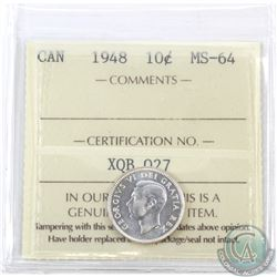 10-cent 1948 ICCS Certified MS-64