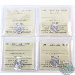 10-cent 1949, 1950, 1951 & 1952 ICCS Certified MS-64. 4pcs