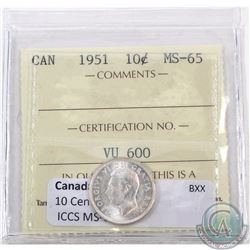 10-cent 1951 ICCS Certified MS-65