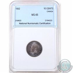10-cent 1952 National Numismatic Certification MS-66.We recommend that you view the lot to form your