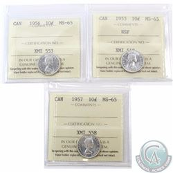 10-cent 1953 NSF, 1956 & 1957 ICCS Certified MS-65. 3pcs