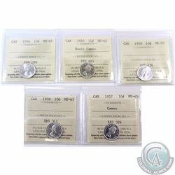 10-cent 1955 Heavy Cameo, 1956, 1957 Cameo, 1958 & 1959 ICCS Certified MS-65. 5pcs