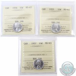 10-cent 1955, 1956 & 1957 ICCS Certified MS-65. 3pcs