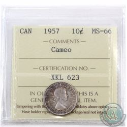 10-cent 1957 ICCS Certified MS-66; Cameo