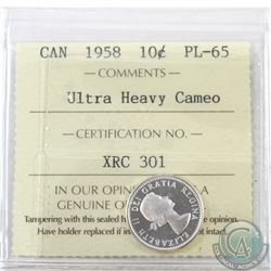 10-cent 1958 ICCS Certified PL-65 Ultra Heavy Cameo