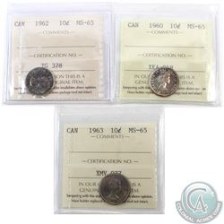 10-cent 1960, 1962 & 1963 ICCS Certified MS-65. 3pcs