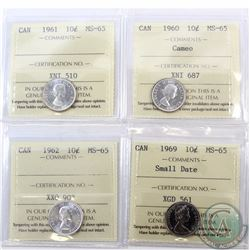 10-cent 1960 Cameo, 1961, 1962 & 1969 Small Date ICCS Certified MS-65. 4pcs