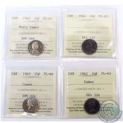 10-cent 1962 Cameo PL-65, 1963 Cameo PL-66, 1964 PL-65, 1965 Heavy Cameo PL-65 all ICCS Certified. 4