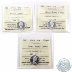 10-cent 1963 ICCS Certified PL-65 Ultra Heavy Cameo, 1964 PL-65 Heavy Cameo & 1965 PL-66 Ultra Heavy