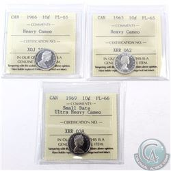 10-cent 1963 ICCS Certified PL-65 Heavy Cameo, 1966 PL-65 Heavy Cameo & 1969 Small Date PL-66 Ultra