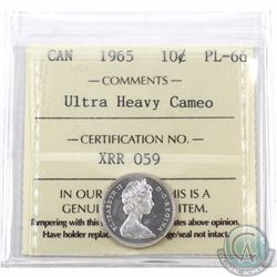 10-cent 1965 ICCS Certified PL-66 Ultra Heavy Cameo. Previously tied for finest known