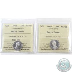 10-cent 1965 & 1966 ICCS Certified PL-66; Heavy Cameo. 2pcs