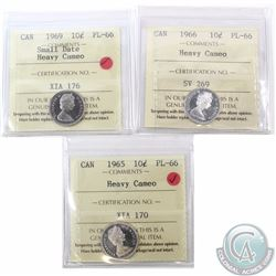 10-cent 1965, 1966 & 1969 Small Date ICCS Certified PL-66 Heavy Cameo. 1969 Small Date is tied for h