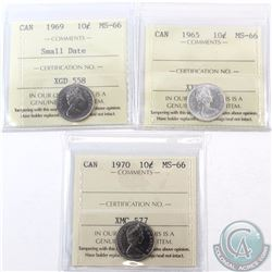 10-cent 1965, 1969 Small Date & 1970 ICCS Certified MS-66. 1965 & 1969 Small Date are tied for the f