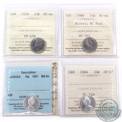 10-cent 1966 ICCS MS-65, 1967 CCCS MS-65, 1968 Nickel RC Mint & 1978 ICCS MS-66 Certified . 4pcs